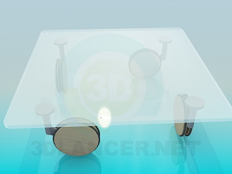 3d модель Журнальный столик с большими колесиками – превью