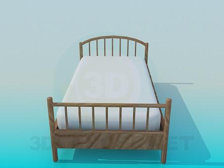 3d модель Дерев'яне ліжко для дитини – превью