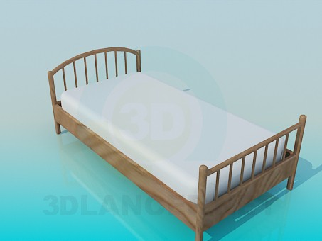 3d model Wooden bed for a child - preview