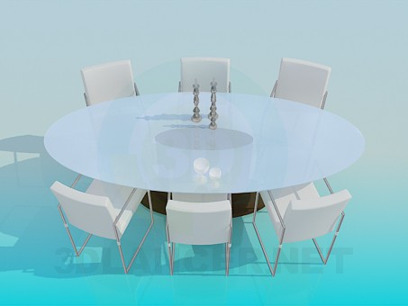 3d model table and chairs for the living room - preview