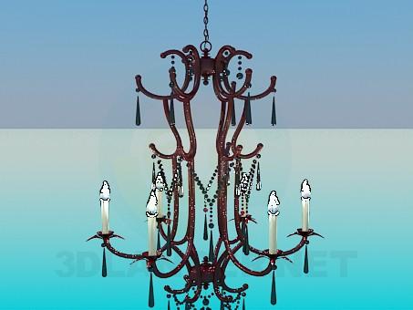 3d model Alta lámpara con candelabros - vista previa