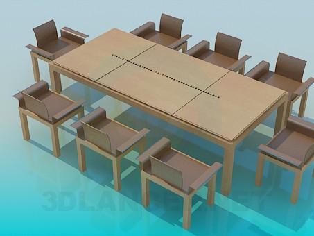 3d модель Стол и стулья в комплекте – превью