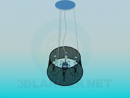 3d modeling Chandelier with transparent Lampshade model free download