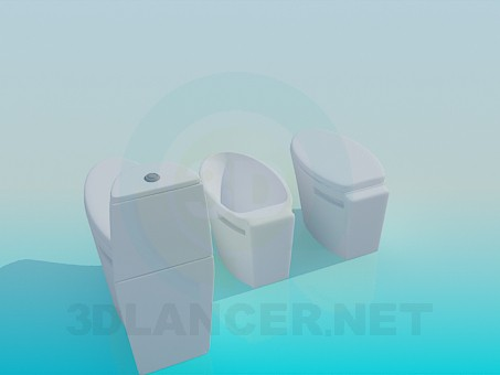 3d model Toilet and bidet in a set - preview