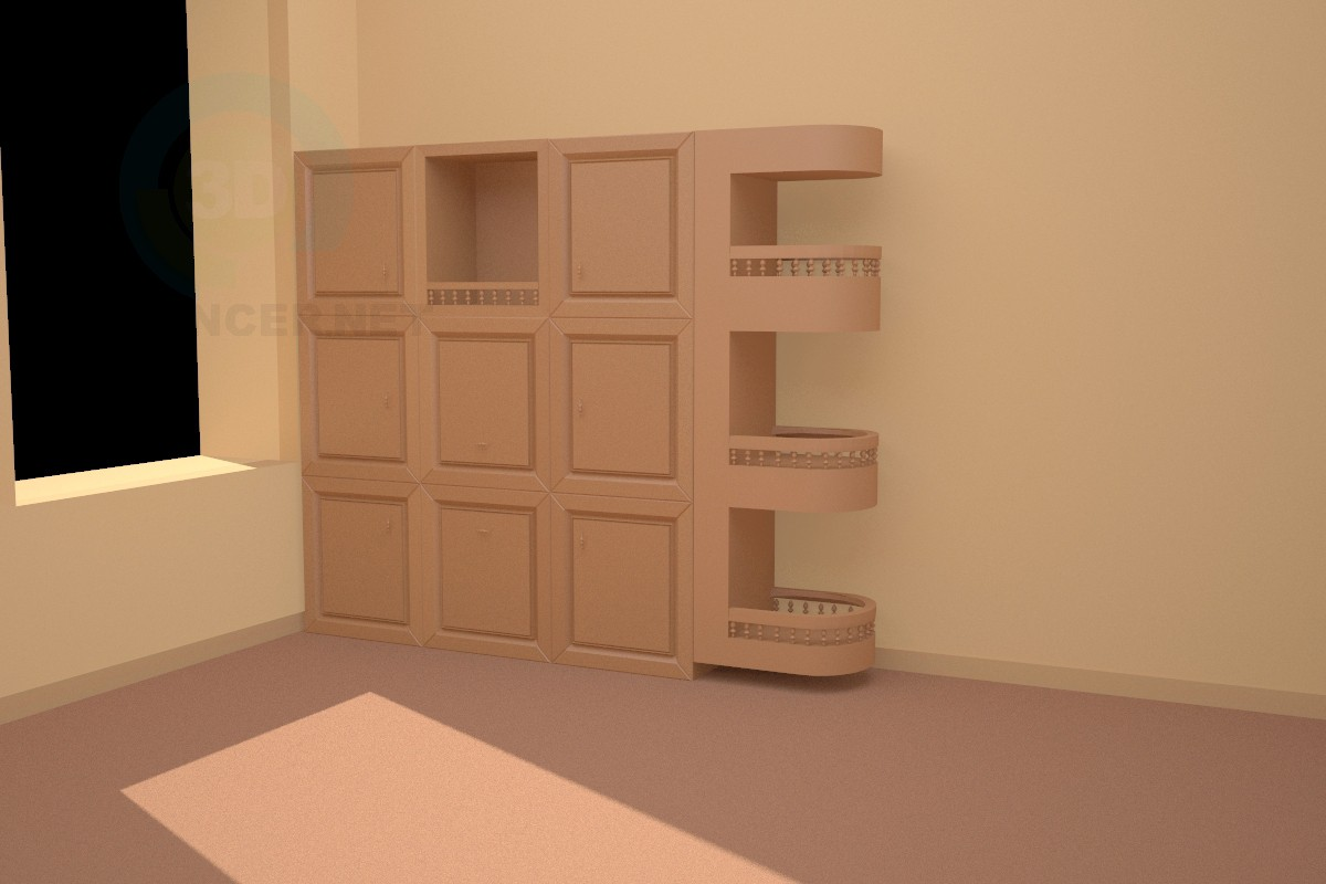 3d modeling Cabinet in a office model free download