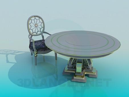 3d модель Журанльный столик и стульчик в наборе – превью