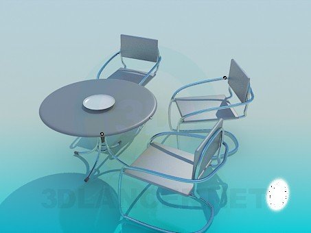 3d model Table and chairs in the bundle for Cafe - preview