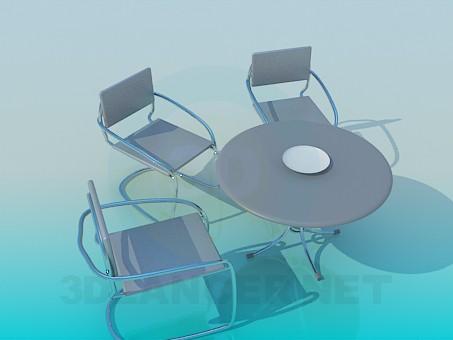 3d модель Стол и стулья в комплекте для кафе – превью
