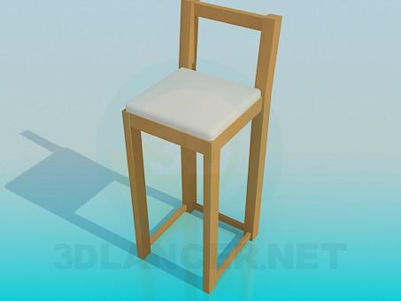 3d модель Длинный деревяный стульчик – превью
