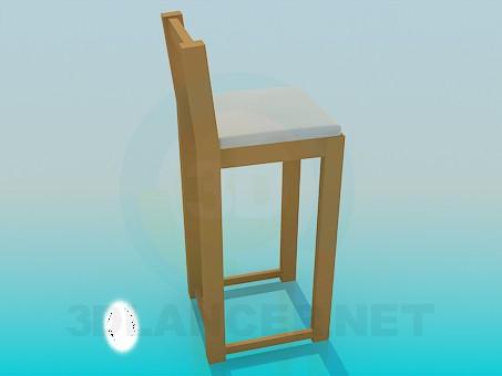3d модель Довгий дерев'яний стільчик – превью