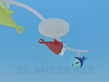 3d модель Светильник рыбка в детскую комнату – превью