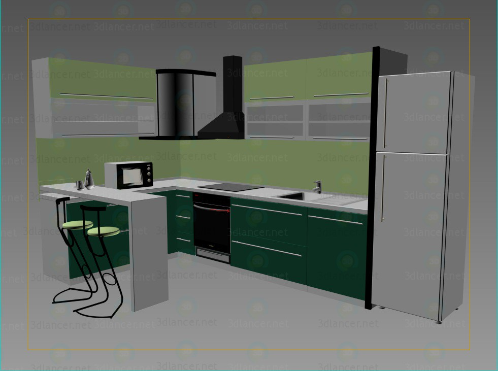 3d model kitchen download for free on for Model kitchen images