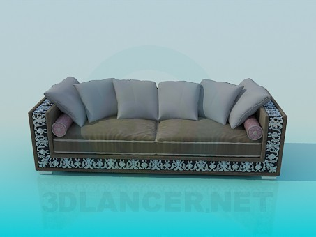 3d modeling Sofa with ornament model free download