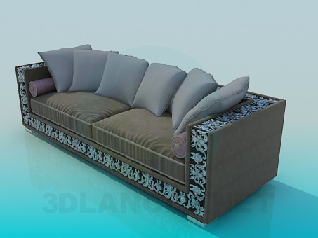 3d model Sofa with ornament - preview