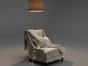 Armchair with garland and floor lamp