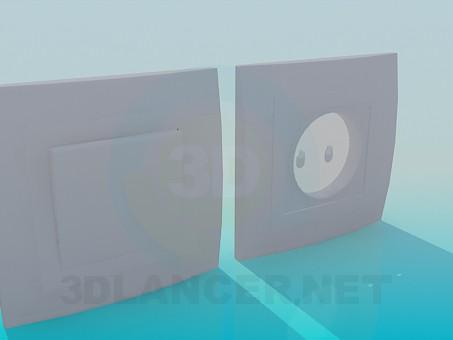3d модель Розетка и выключатели – превью