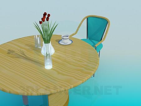 3d моделювання Дерев'яний кухонний стіл зі стільцем модель завантажити безкоштовно