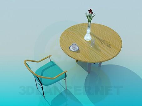 modelo 3D Mesa de cocina de madera con una silla - escuchar