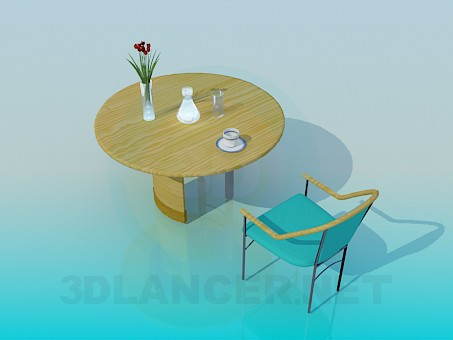 3d model Wooden kitchen table with a chair - preview