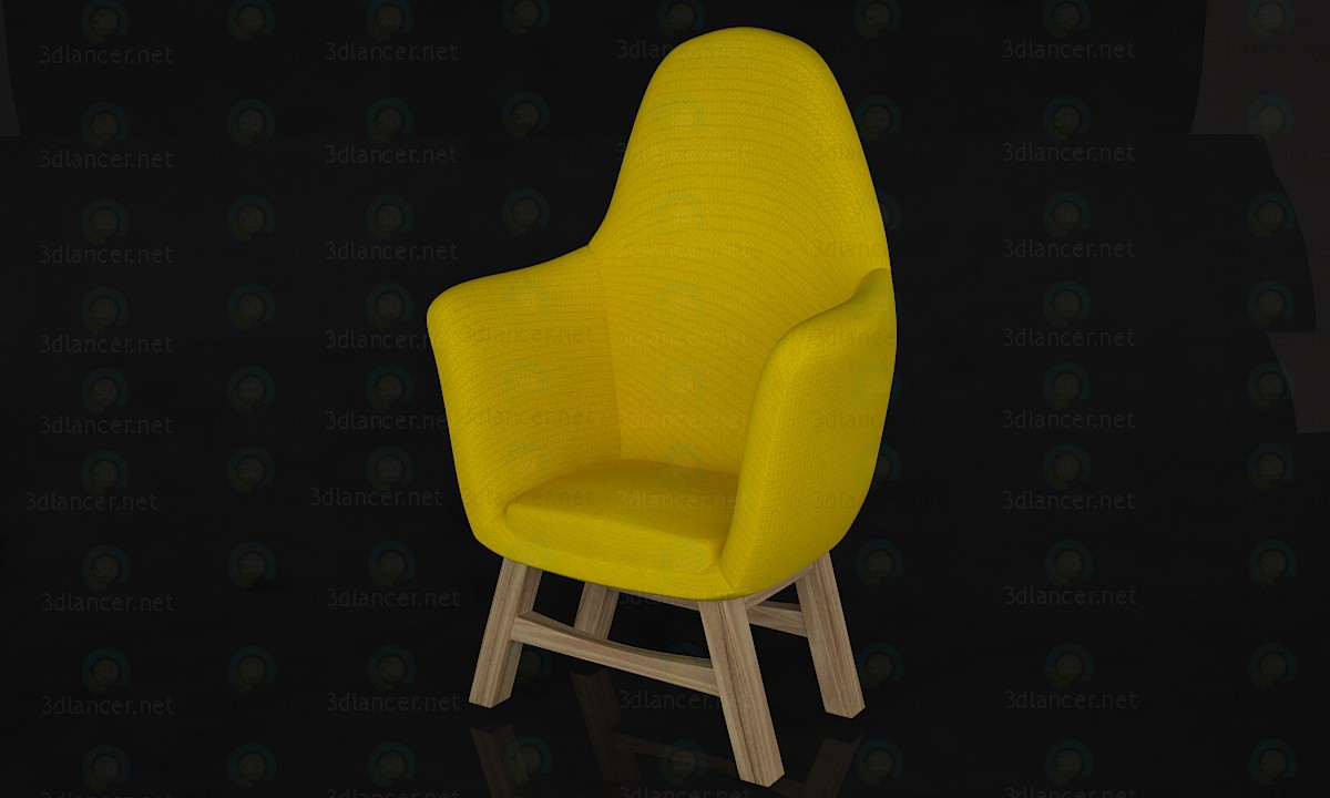 3d model silla amarilla - vista previa