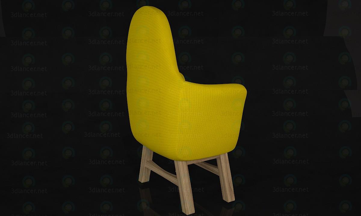 3d модель желтый стул – превью