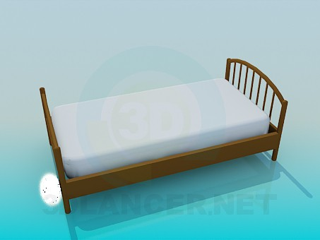 modelo 3D Cama individual con colchón - escuchar