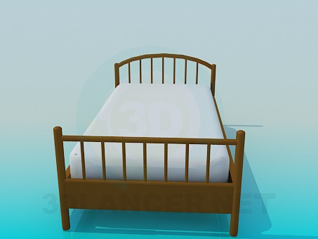 3d model Single bed with mattress - preview
