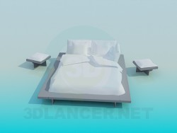 Queen size bed with tables
