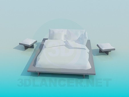 3d modeling Queen size bed with tables model free download