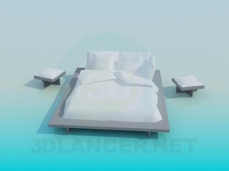 descarga gratuita de 3D modelado modelo Cama matrimonial con mesas de