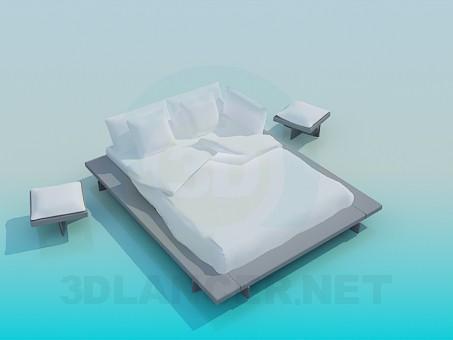 modelo 3D Cama matrimonial con mesas de - escuchar