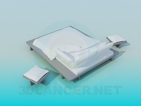 3d model Queen size bed with tables - preview