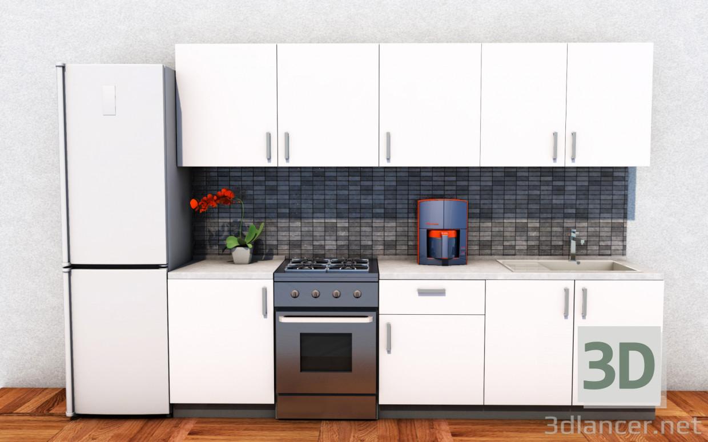 Modelo 3d cocina moderna en estilo Loft ID 17348