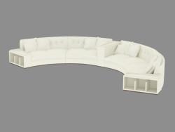 Sofá de couro semi-circo redondo (608)