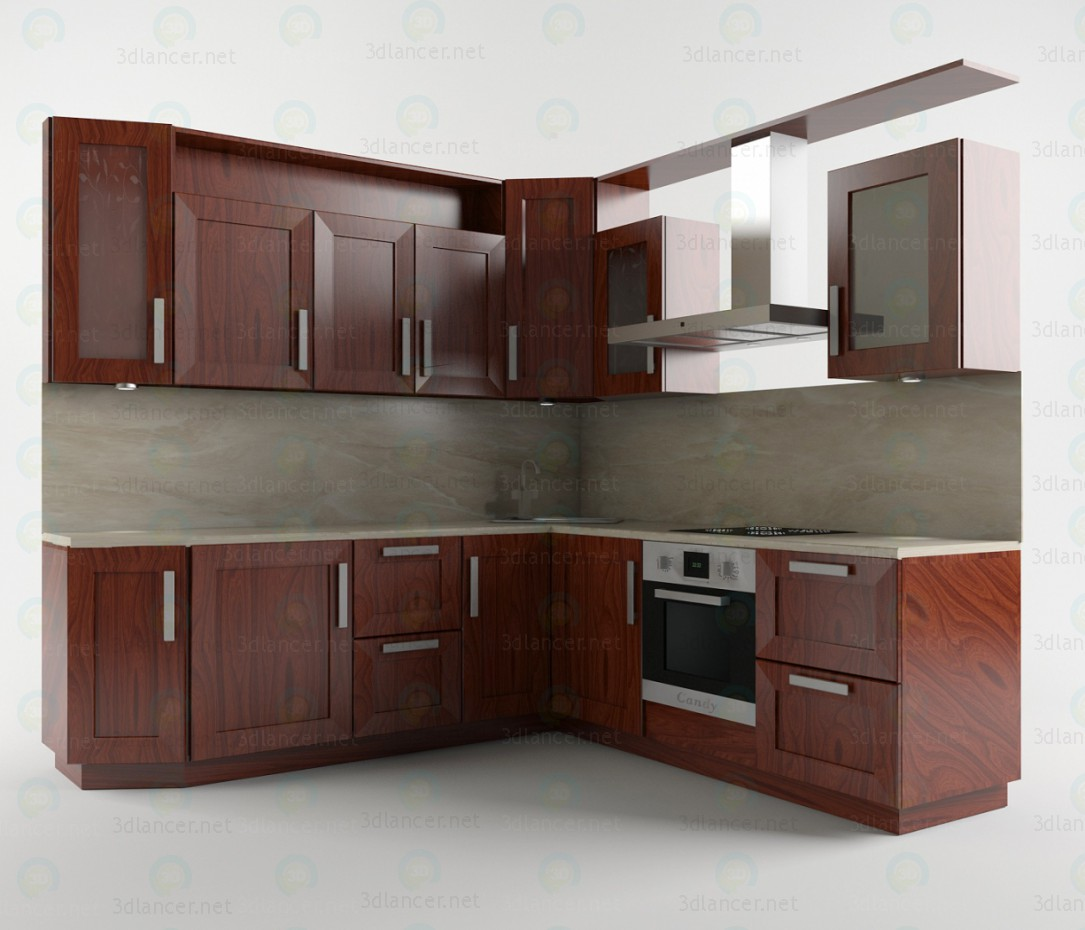 3d model kitchen set download to for Kitchen set letter l