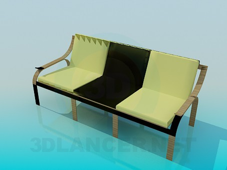 3d model Bench with soft seat - preview