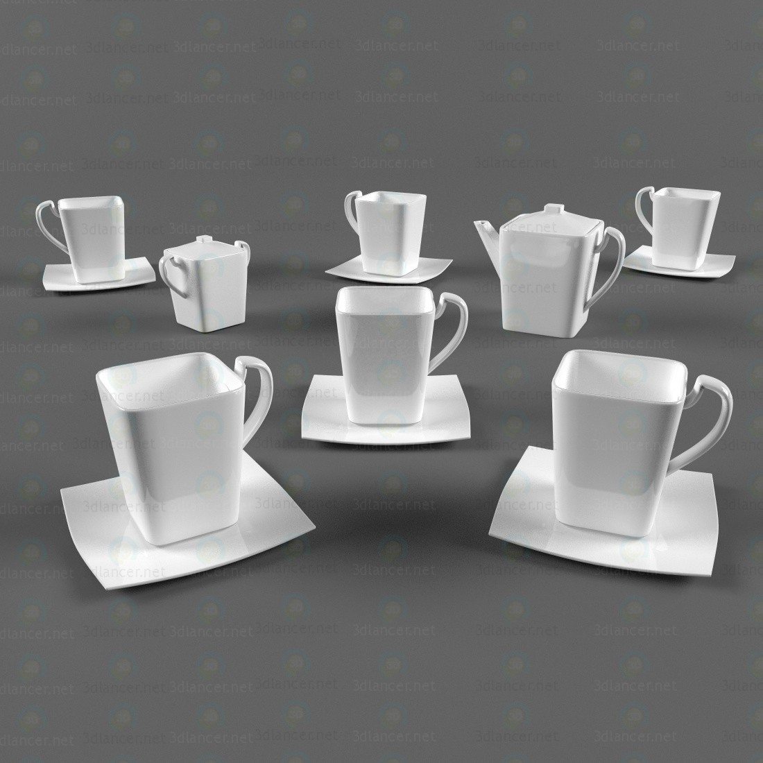 Coffee service paid 3d model by Fishka1969 preview