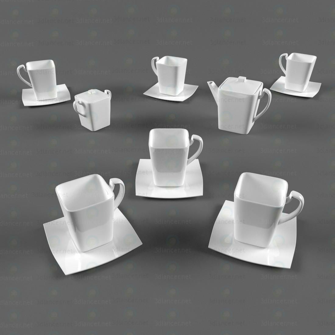 Servicio de café 3D modelo Compro - render