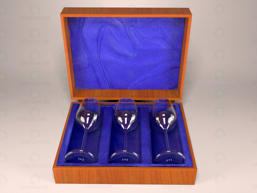 3d model Set of glasses in the box - preview