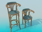 A set of wooden chairs