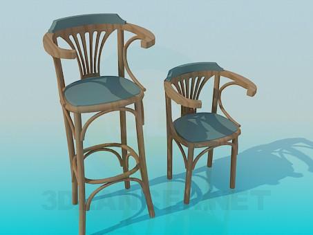 descarga gratuita de 3D modelado modelo Un conjunto de sillas de madera