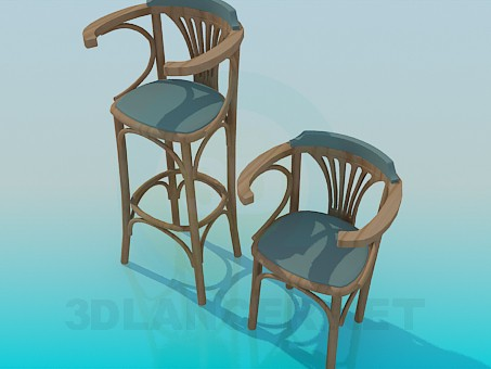 3d model A set of wooden chairs - preview