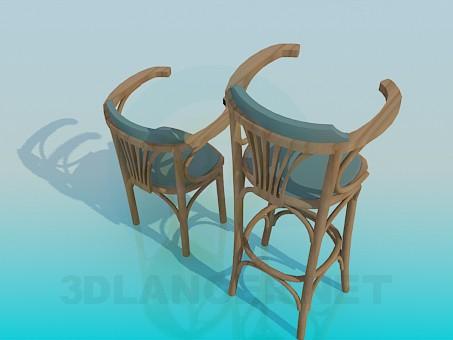 3d модель Набор деревянных стульев – превью