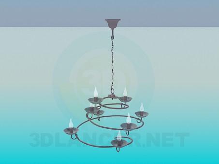 3d модель Люстра - спіраль зі свічками – превью