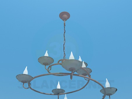 3d model Chandelier-spiral with candles - preview