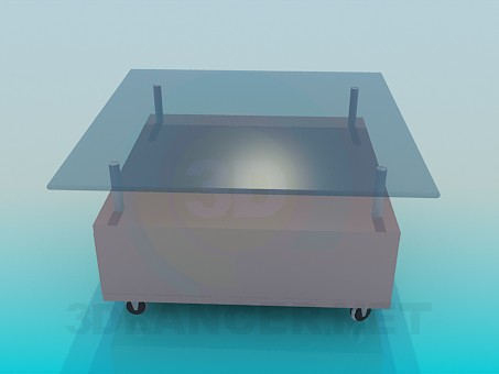 3d model Coffee table on wheels - preview