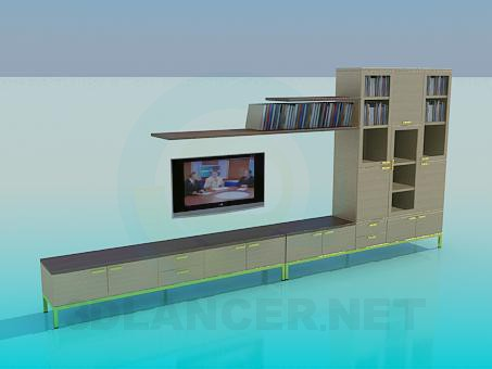 3d model Wall in the living room - preview
