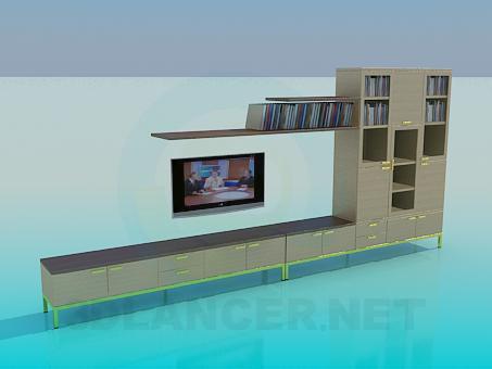 modelo 3D De la pared en la sala de estar - escuchar