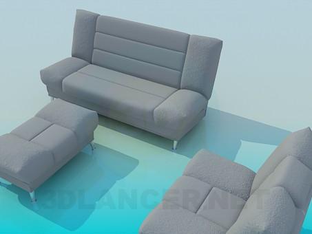 modelo 3D Conjunto de sillón, sofá y otomana - escuchar