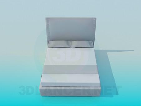 3d model Estrecha cama de matrimonio - vista previa